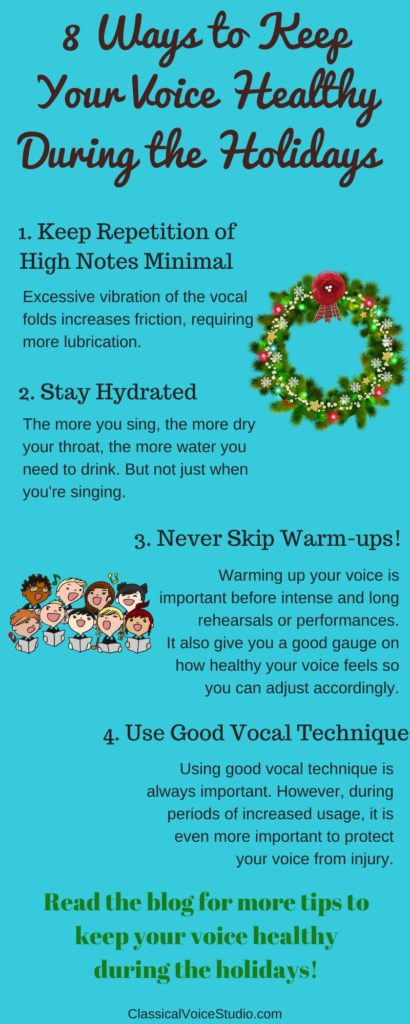 Avoid vocal injury using these tips during the most vocally stressful time of the year.  Download a checklist to help you recognize phono-trauma to help you manage your voice during rehearsals and performances.